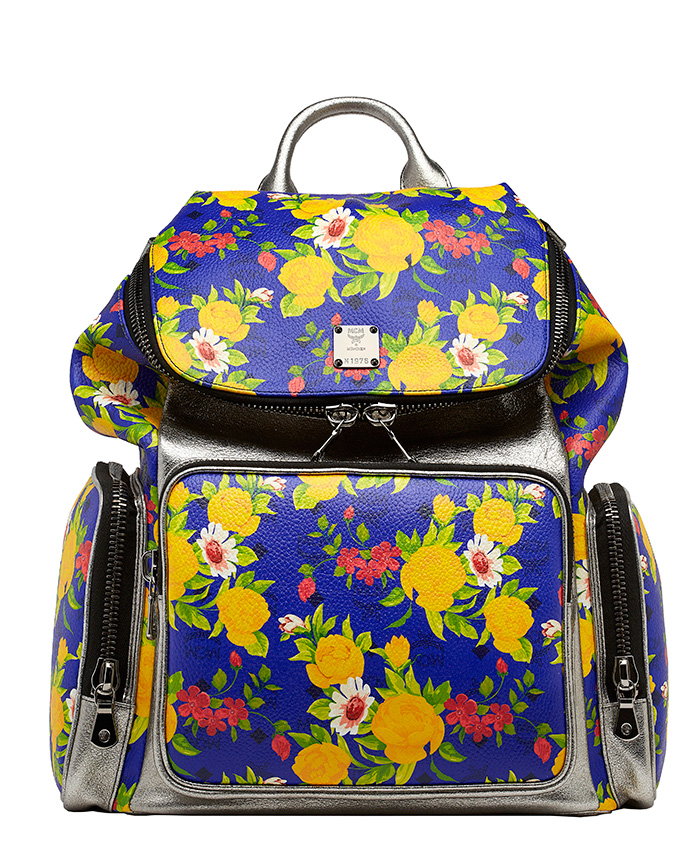 Blume-Paradiso-Flower-Visetos-Backpack-Blue-Silver